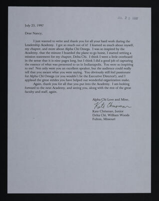 Kate Chrisman to Nancy Leonard Letter, July 25, 1997