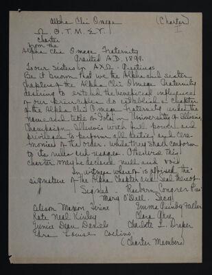 Iota Chapter Charter, 1899