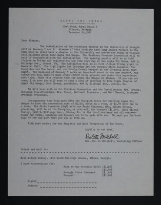 Deette Mitchell to Alumnae of Alpha Chi Omega Letter, December 30, 1937