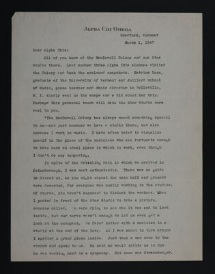 Thelma Belair to Alpha Chis Letter, March 1, 1947