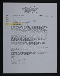 Leslee Purdy to Lynette Hart Letter, October 17, 1991