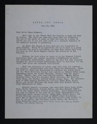Judy Wanzer to Delta Kappa Alumnae Letter, June 23, 1961