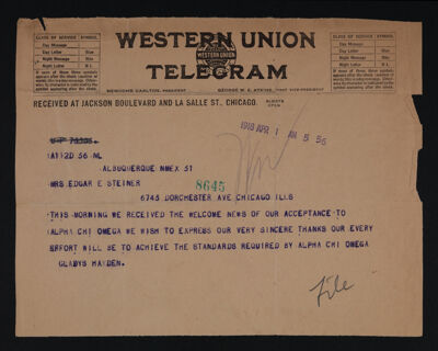 Gladys Hayden to Mrs. Edgar Steiner Telegram, April 1, 1918