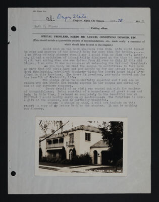 Ruth Winsor Chi Chapter Visit Report, November 20, 1935