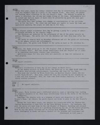 Hera Day Activities by Chapter Report, February-March 1941