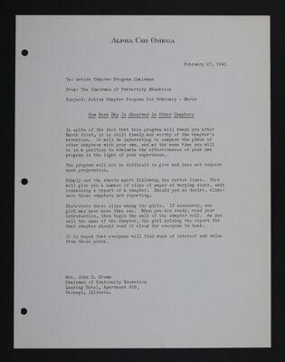 Mrs. John D. Brown to Active Chapter Program Chairmen Letter, February 27, 1941