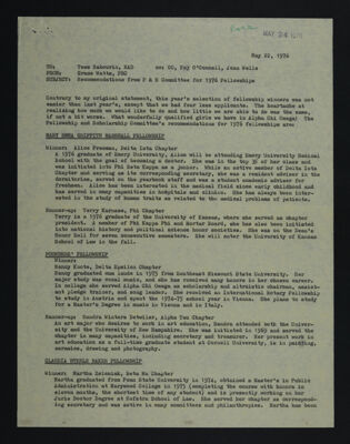 Recommendations from F&S Committee for 1976 Fellowships Report, May 22, 1976