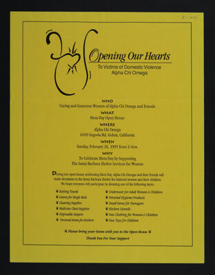 Opening Our Hearts to Victims of Domestic Violence Flier, February 1995