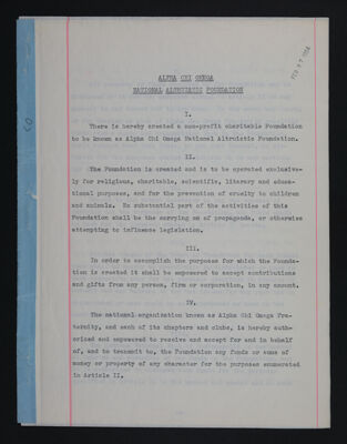 Alpha Chi Omega National Altruistic Foundation Constitution with Amendment Note, November 22, 1968