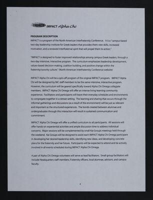 IMPACT Alpha Chi Program Description, c. 2000