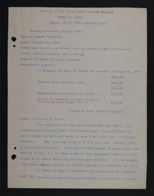 Minutes of the First Grand Council Meeting, August 25-28, 1903