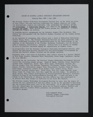 Report of the National Alumnae Membership Development Director, June 1960-June 1962
