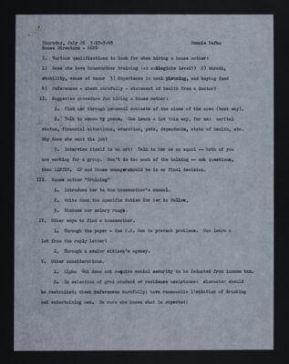 House Directors Workshop Outline, July 26, 1973