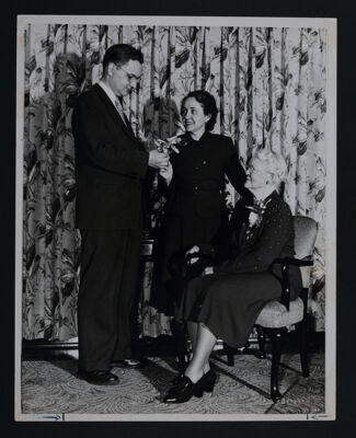 Hannah Keenan Receiving Good Neighbor Award, c. 1938