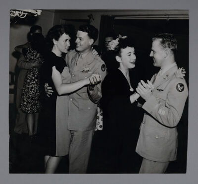 Alpha Psi Chapter Members Dancing with Soldiers Photograph, 1944
