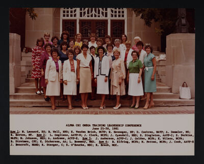 Alpha Chi Omega Training Leadership Conference Photograph, June 25-30, 1981