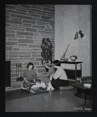 Three Delta Eta Chapter Members in Living Room Photograph, June 1959