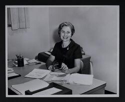 Jody Martindill Working at Desk Photograph, c. 1973-78