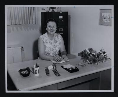Kathryn Lenihan Working at Desk Photograph, c. 1970
