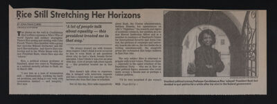 Rice Still Stretching Her Horizons Newspaper Clipping, c. 1992-93