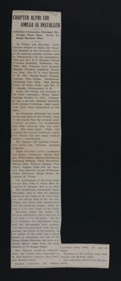 Chapter Alpha Chi Omega Is Installed Newspaper Clipping, June 1918