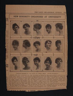 New Sorority Organized at University Newspaper Clipping, February 6, 1916