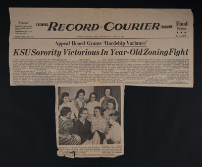 Appeal Board Grants 'Hardship Variance:' KSU Sorority Victorious in Year-Old Zoning Fight Newspaper Clipping, May 13, 1959