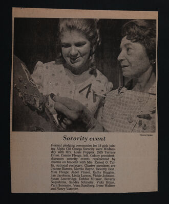Sorority Event Newspaper Clipping, May 23, 1971