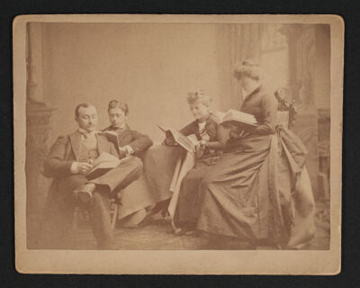 Early Alpha Chis and Two Men Studying Cabinet Card