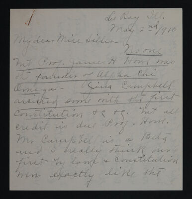 Bessie G. Keenan to Miss Siller Letter, May 2, 1910