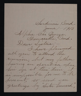 E. Rose Merideth to Sisters Letter, June 1, 1910