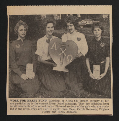 Work for Heart Fund Newspaper Clipping, c. 1962-66