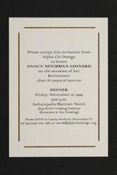 Nancy Nitchman Leonard Retirement Celebration Invitation, 1999