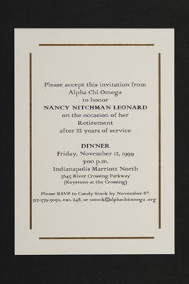 Nancy Nitchman Leonard Retirement Celebration Invitation, 1999
