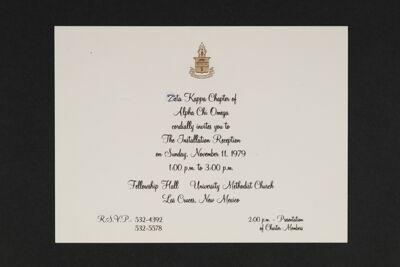 Zeta Kappa Chapter Installation Reception Invitation, 1979