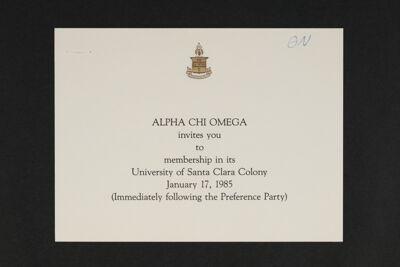 University of Santa Clara Colony Membership Invitation, 1985