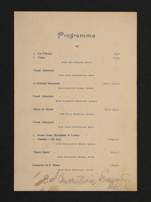 Third Convention Musicale Program, February 28-March 3, 1894