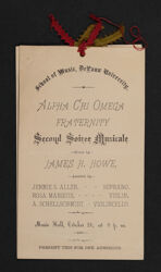 Alpha Chi Omega Fraternity Second Soiree Musicale Program, October 20, 1887