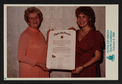 Two Alpha Chis at Zeta Phi Chapter Installation Photograph, February 4, 1984