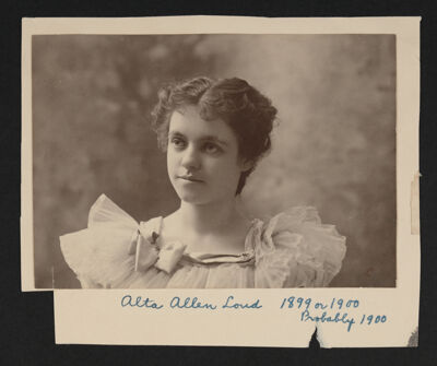 Alta Allen Loud Portrait Photograph, c. 1900