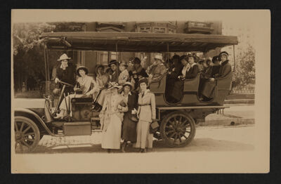 Group in Observation Car at Convention Postcard, June 28-July 2, 1915