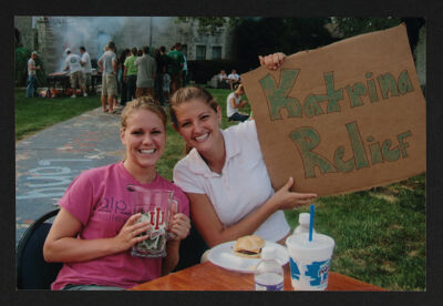 Sarah Caldwell and Lauren Werner Collecting Katrina Donations, c. 2005