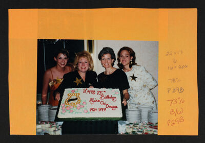Murphy, Crandall, Small and Miketinac with 75th Birthday Cake Photograph, September 13, 1999