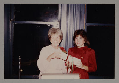Renee Trabert Receiving Charter from D'Alice Cochran Photograph, October 27, 1984