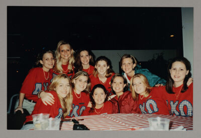 Delta Kappa Chapter Members in Red AXΩ Shirts Photograph, 1998