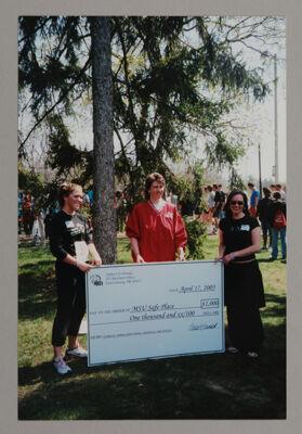 Beta Epsilon Chapter Members Presenting Check to MSU Safe Place Photograph, April 17, 2005