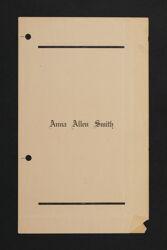 Anna Allen Smith Funeral Program, 1932