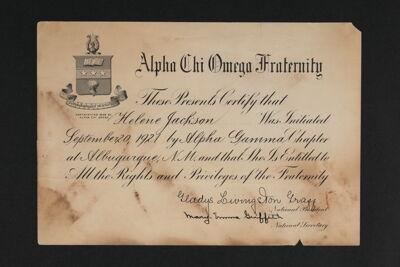 Helene Jackson Initiation Certificate, September 20, 1921