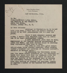 James Howe to Mrs. Gilbert L. Van Auken Letter, May 15, 1933
