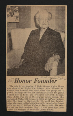 Honor Founder Newspaper Clipping, 1957